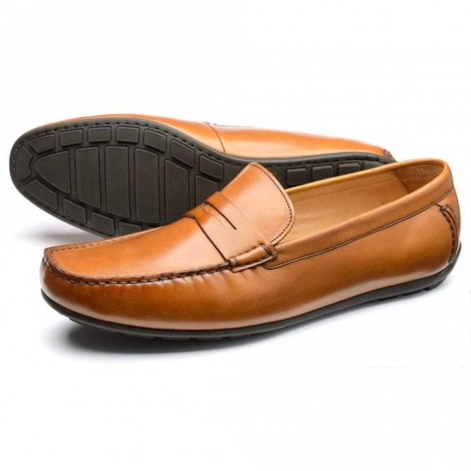 Loake Goodwood Tan Burnished Calf Leather moccasin - Tan
