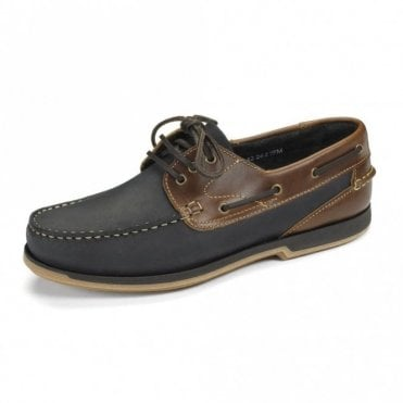 Loake Navy Nubuck/brown Waxy Boat Shoe 521 N2 - Blue