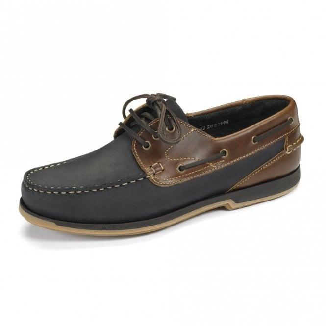 Loake Navy Nubuck/brown Waxy Boat Shoe 521n2 - Blue