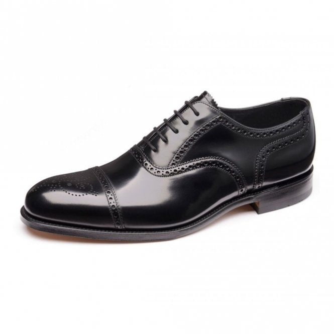Loake Overton Black Polished Semi Brogue Shoe