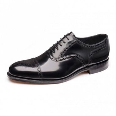 Overton Black Polished Semi Brogue Shoe
