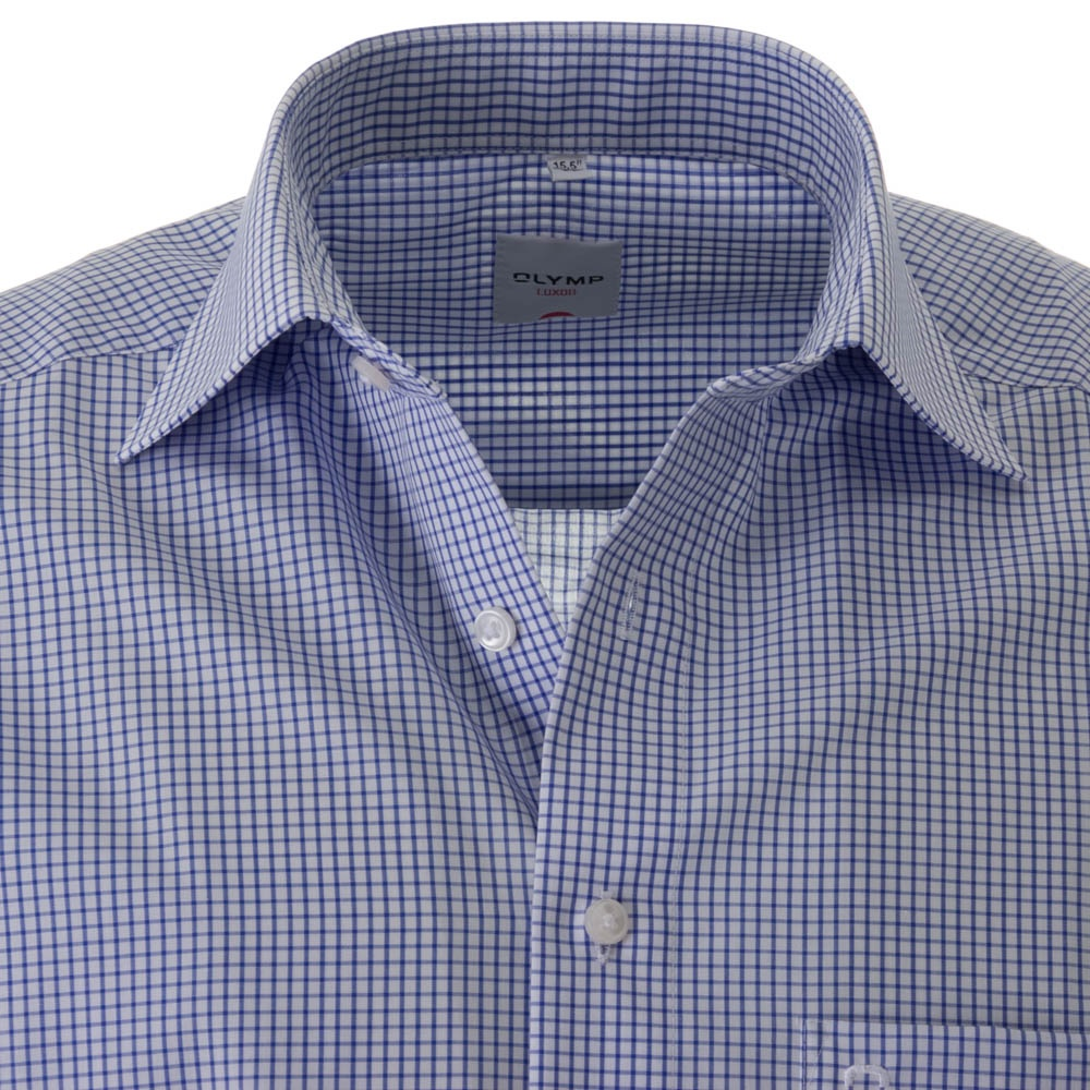 Olymp Luxor All Cotton Blue Check Formal Shirt - Olymp from Charles ... 5da033ae2