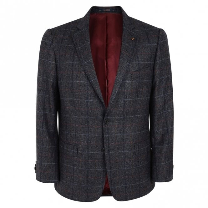 Magee Nice T2 Grey Check Donegal Tweed Classic Fit Blazer 54249
