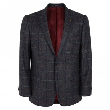 Nice T2 Grey Check Donegal Tweed Classic Fit Blazer 54249