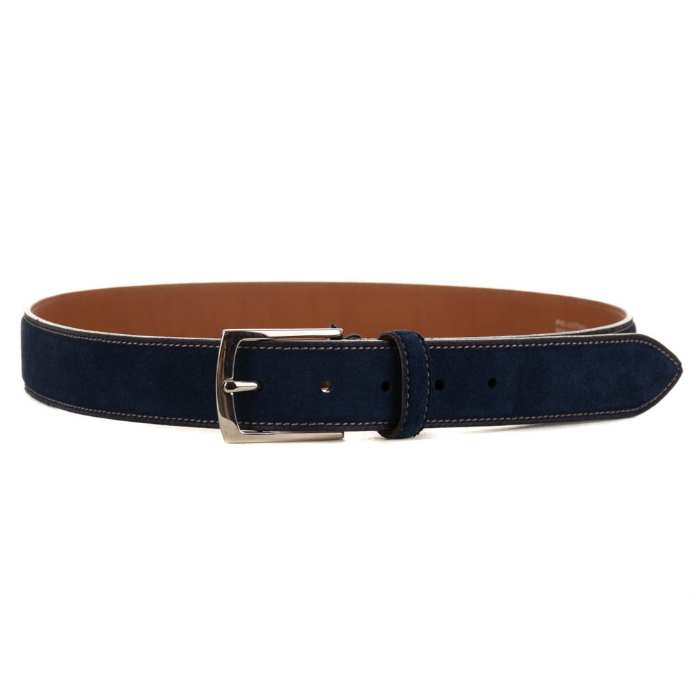 d0582893d All Leather Suede Belt - Blue - Mens from Charles Hobson of ...