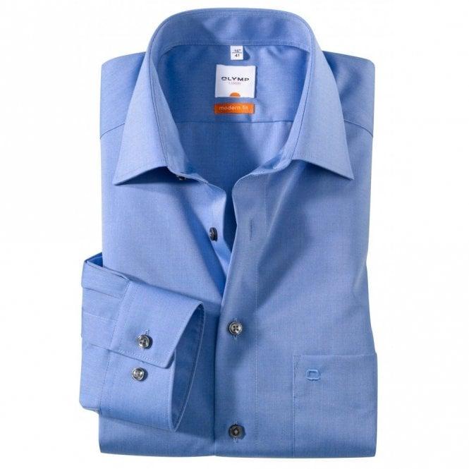 Olymp Modern Fit Luxor Plain Blue Shirt 0304/64/15