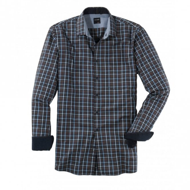 Olymp Blue/Brown Check Shirt