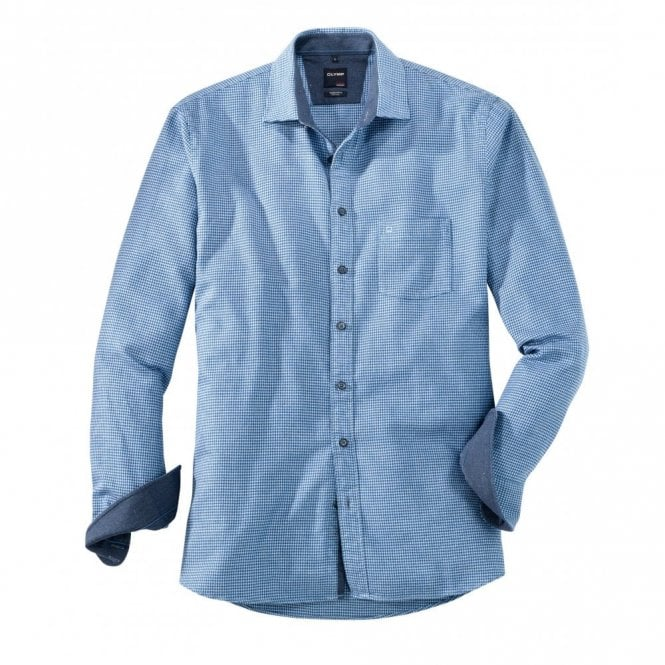 Olymp Blue Houndstooth Check Shirt