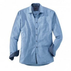 Blue Houndstooth Check Shirt