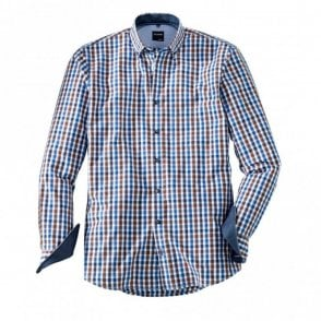 Olymp Brown/Blue Check Shirt