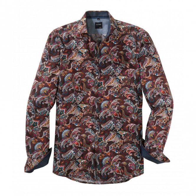 Olymp Burgundy Leaf Print Shirt