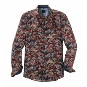 Burgundy Leaf Print Shirt
