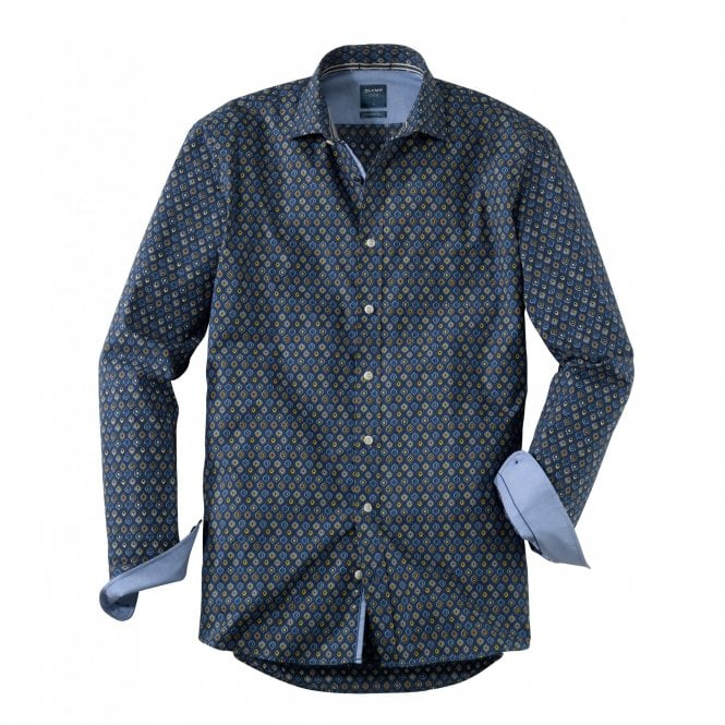 Olymp Casual Modern Fit Blue Print Shirt