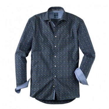 Olymp Casual Modern Fit Blue Print Shirt