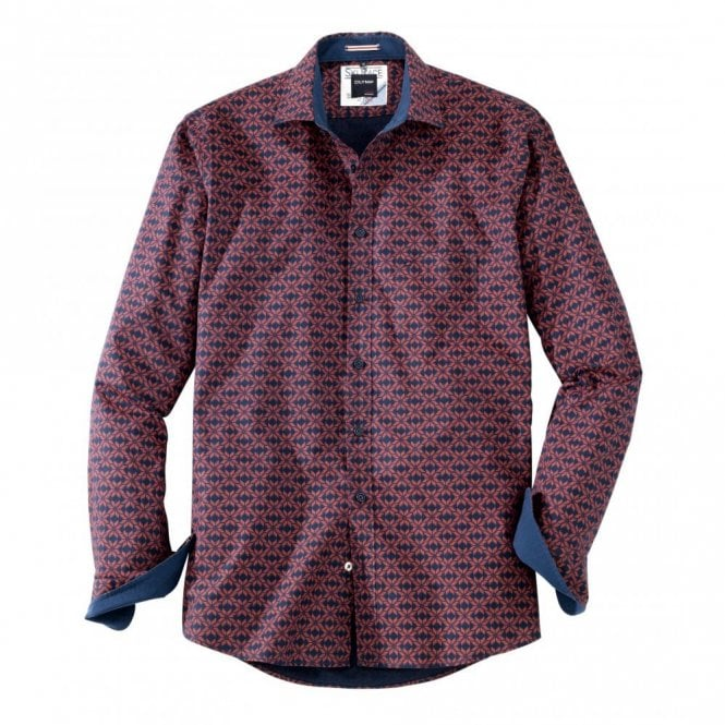 Olymp Casual modern fit Burgundy/Blue Print