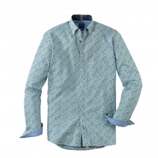 Olymp Casual Modern Fit Green Print Shirt