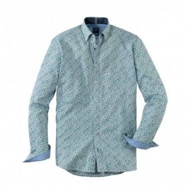 Casual Modern Fit Green Print Shirt