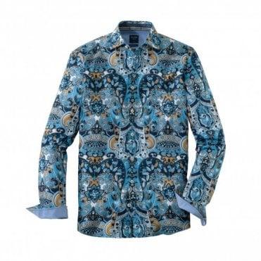 Olymp Casual Modern Fit Light Blue Printed Shirt