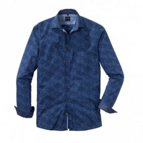 Olymp Circle Print Shirt - Navy