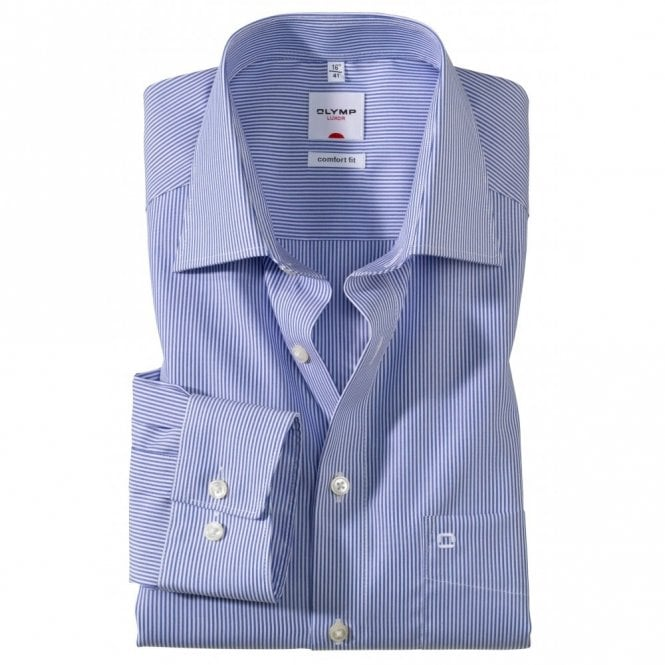 Olymp Comfort Fit Luxor Blue Stripe All Cotton Formal Shirt