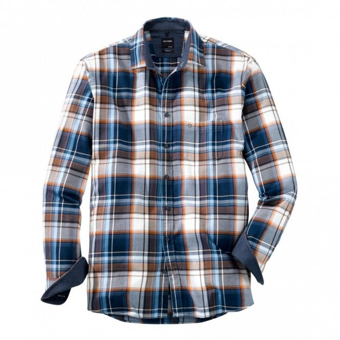 Olymp Large Check Blue/Brown Shirt
