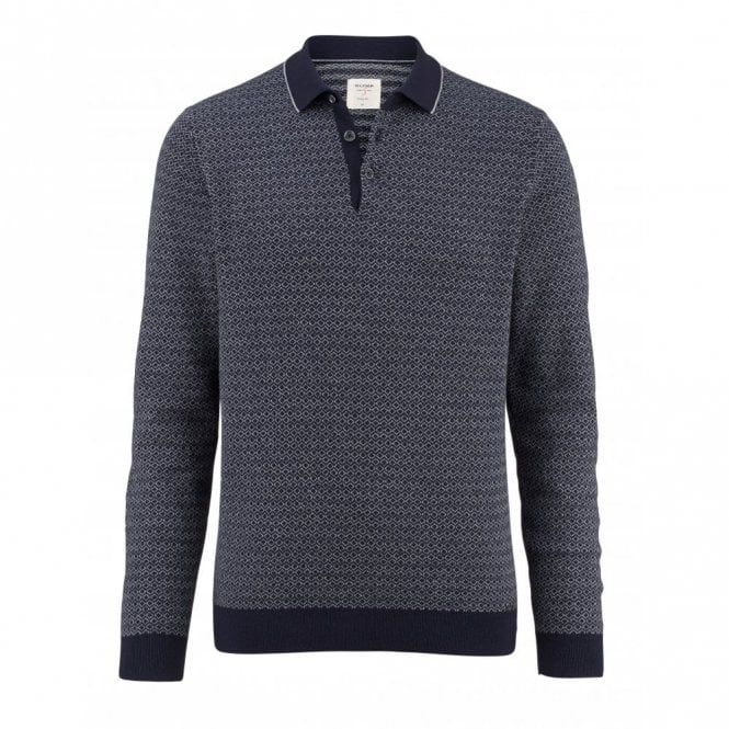 Olymp Level 5 Knitted Polo Shirt - Navy