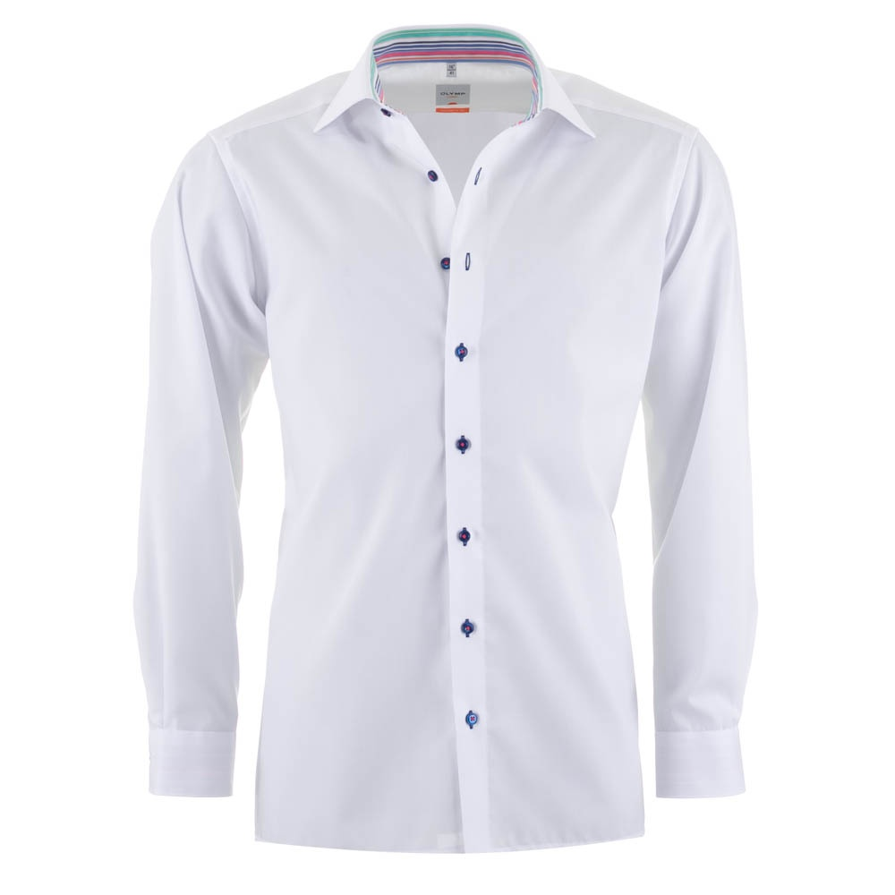 Olymp Luxor All Cotton White Shirt - Rainbow collar - Olymp from ...