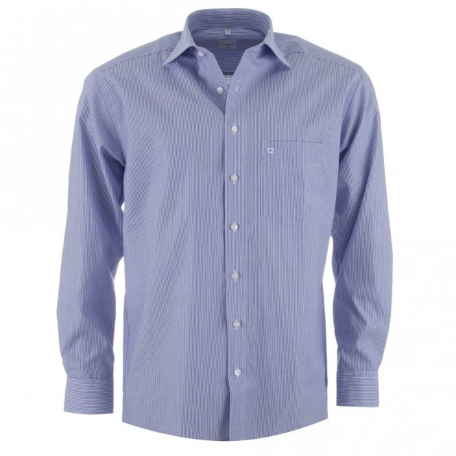Olymp Luxor Blue Stripe All Cotton Formal Shirt