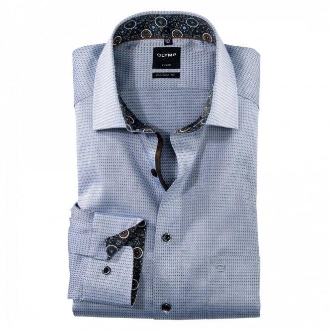 Olymp Luxor Modern Fit Blue/Grey Printed Shirt