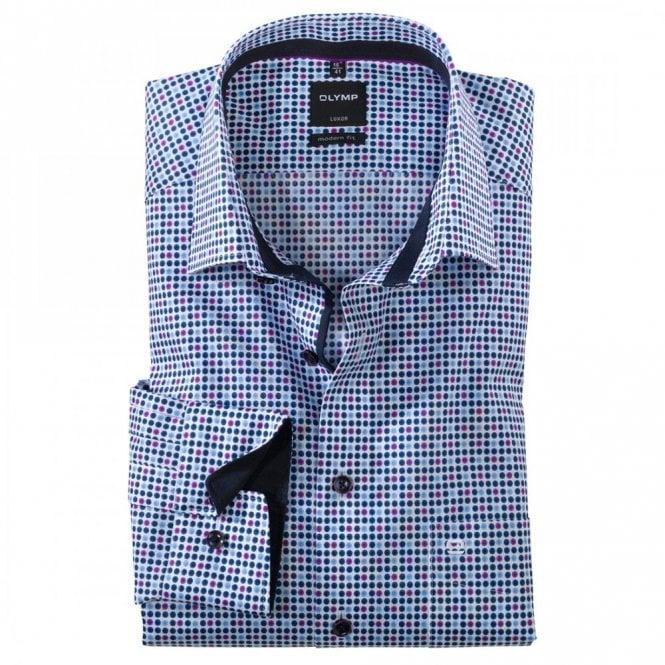 Olymp Luxor Modern Fit Blue/Purple Spot Shirt - Blue