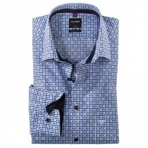 Luxor Modern Fit Blue/Purple Spot Shirt - Blue