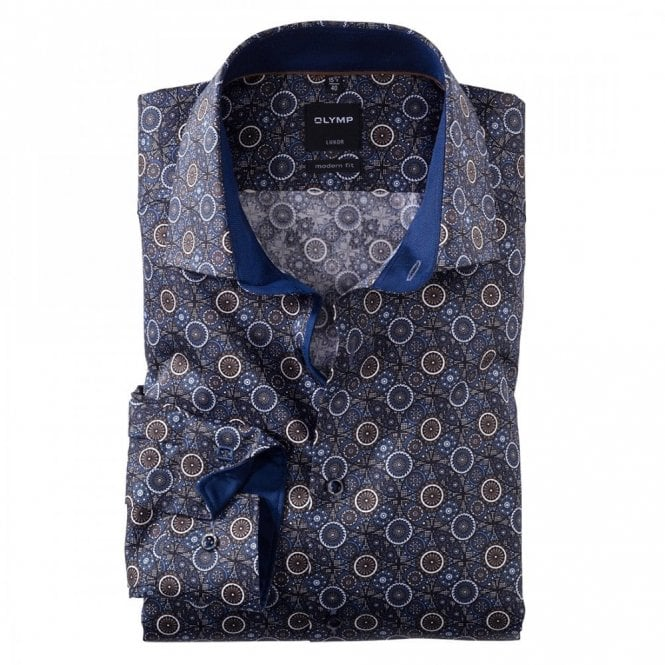 Olymp Luxor Modern Fit Brown/Blue Printed Shirt