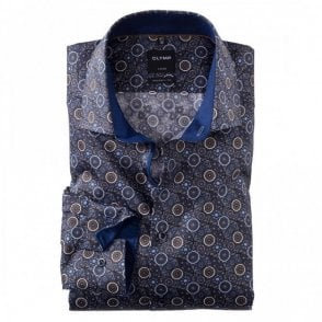 Luxor Modern Fit Brown/Blue Printed Shirt