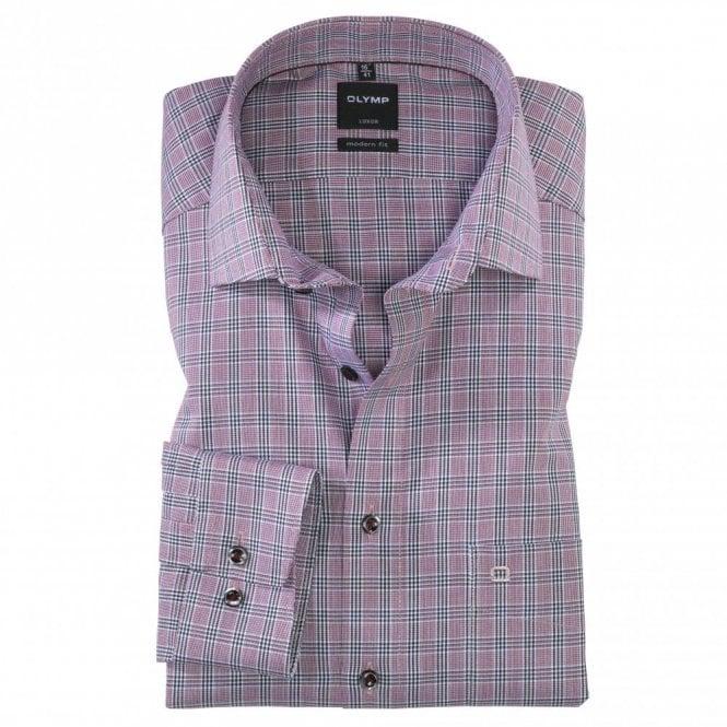 Olymp Luxor Modern Fit Burgundy Check Shirt - Burgundy