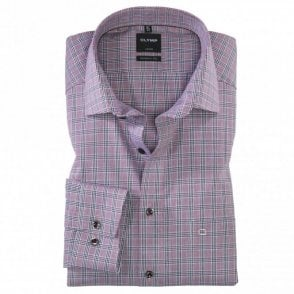 Luxor Modern Fit Burgundy Check Shirt - Burgundy