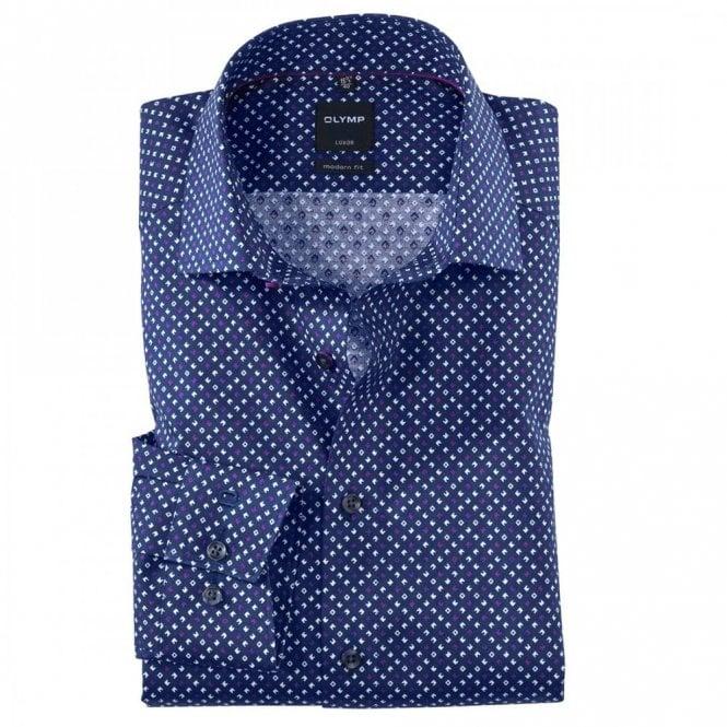 Olymp Luxor Modern Fit Navy/Purple Printed Shirt - Navy