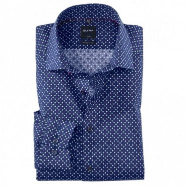 Luxor Modern Fit Navy/Purple Printed Shirt - Navy
