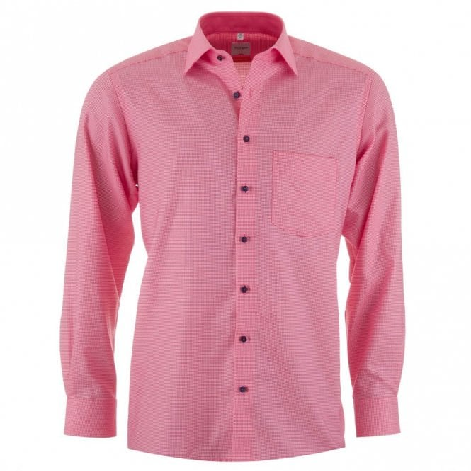 Olymp Luxor Pink Check All Cotton Shirt