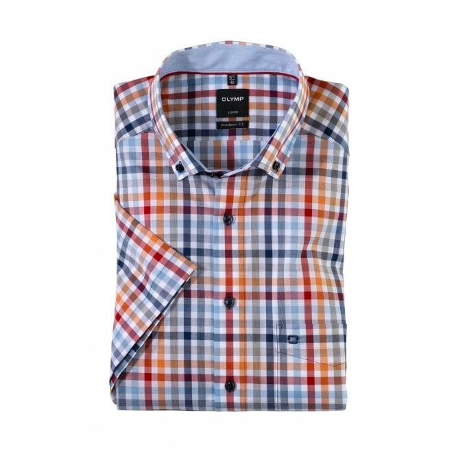 Olymp Modern Fit Blue/Orange Check Short Sleeve Shirt