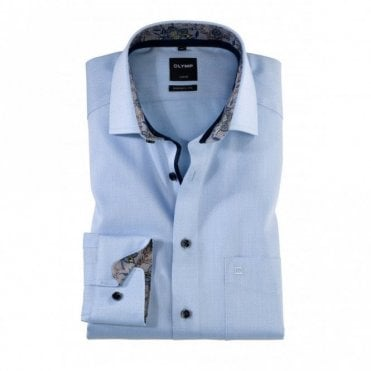 Olymp Modern Fit Blue Printed Shirt - Blue