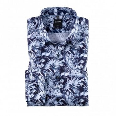 Olymp Modern Fit Leaf Print Shirt - Blue