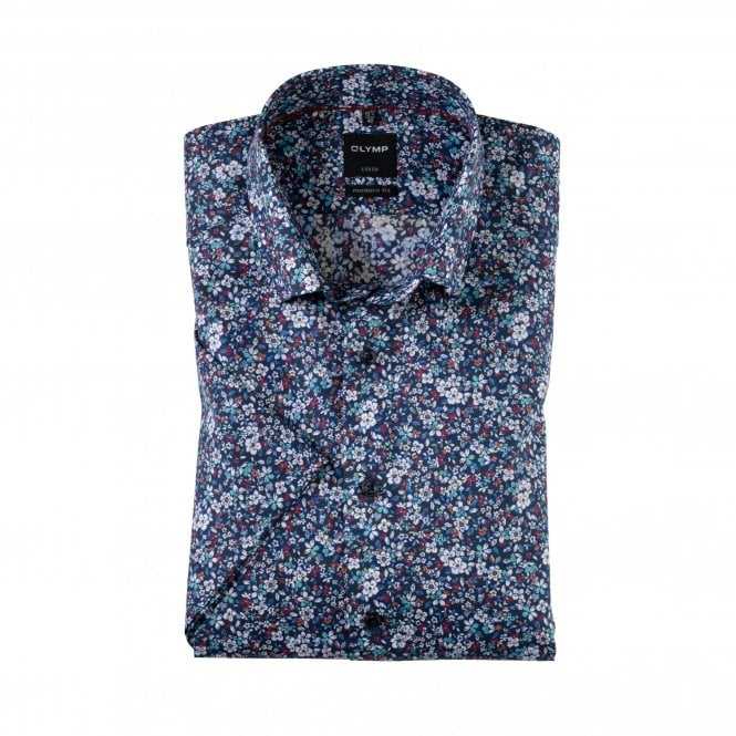 Olymp Modern Fit Luxor Floral Shirt - Blue