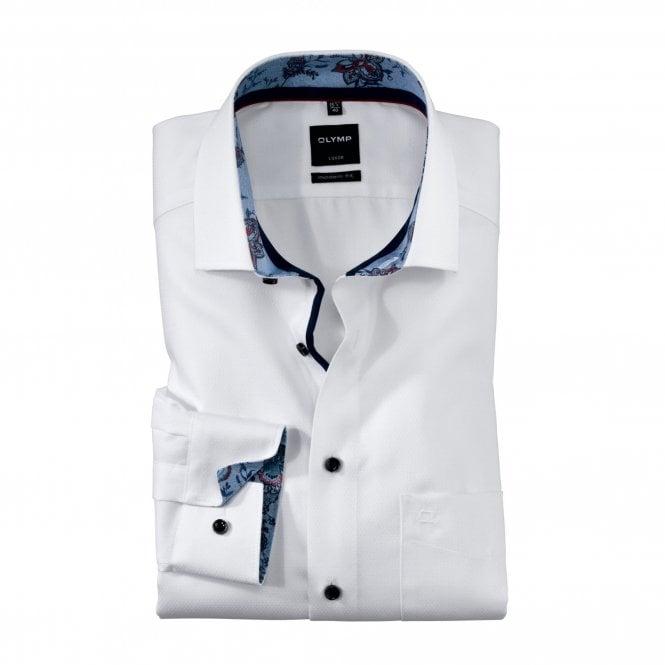 Olymp Modern Fit Plain Print Shirt - White