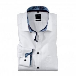 Modern Fit Plain Print Shirt - White