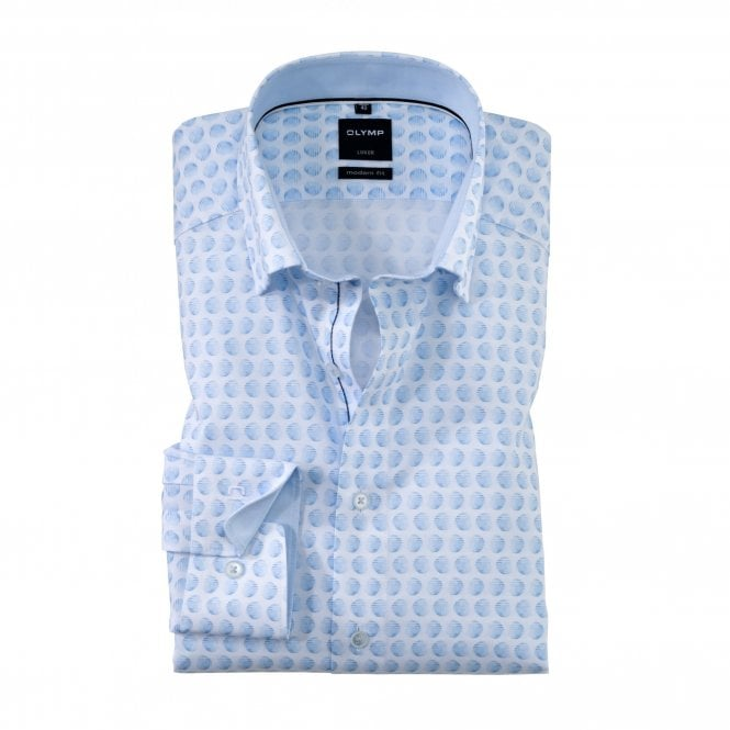 Olymp Modern Fit Spotted Shirt - Blue