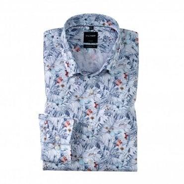 Olymp Modern Fit White Floral Print Shirt