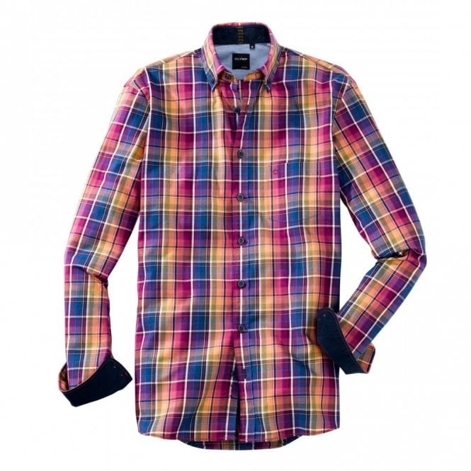 Olymp Pink/Blue Multi Check Shirt