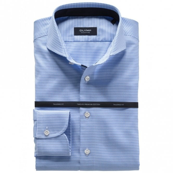 OLYMP SIGNATURE Blue/white Dog Tooth Check Shirt