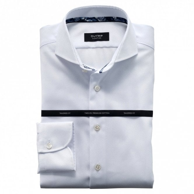 OLYMP SIGNATURE Textured Plain White Spread Collar Shirt