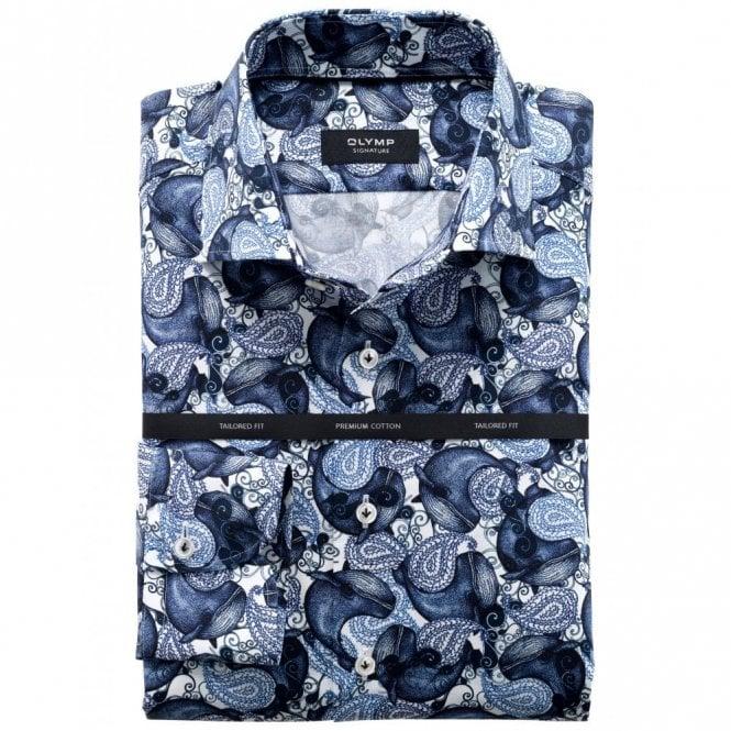 OLYMP SIGNATURE Whale Print Navy/white Shirt